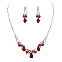 Elegant V-Shaped Raindrop Rhinestone Crystal Prom Bridesmaid Evening Necklace Set Silver Tone