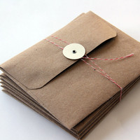6 Kraft Envelopes with Button Tie Closure A2 Size by 42things