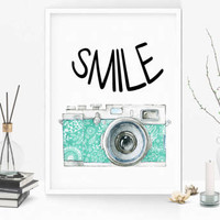 Smile print - Inspirational print -Smile digital print -  Motivational print - Smile poster - Printable -  Gift for her - Housewarming gift