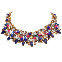 Blue Tone Crystal Statement Bib Necklace Fashion Jewelry
