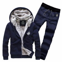 Brand Fashion Thick Velvet sporting suit men warm hooded tracksuit track polo Hoodie sweat suits set zipper black Sweatshirts