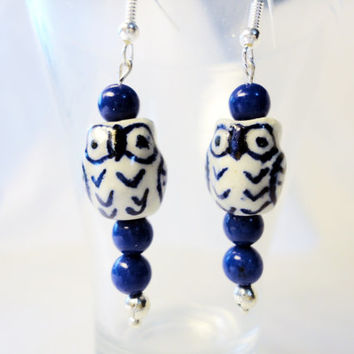 Blue Porcelain owl bead, agate, silver plated, Beaded Earrings, porcelain earrings