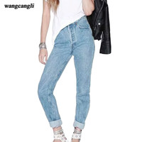 2017 spring jeans feminina fashion pantalon jeans pour femme cotton Straight pants Loose ripped boyfriend jeans for women