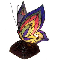 Tiffany Style Stained Glass Yellow Butterfly Accent Table Lamp TN09218/D213