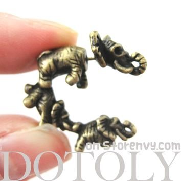 Fake Gauge Earrings: Elephant Family Animal Shaped Plug Earrings in Brass