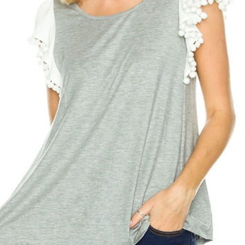 RWL BOUTIQUE - Pom Pom Short Sleeve Tee - Ruffles with Love - RWL