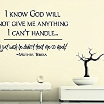 Wall Decal Vinyl Sticker Decals Art Decor Design Lettering Words Quote Mother Teresa Sign God Religion Church Gift Bedroom Living Room(r239)