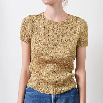 Ralph Lauren Gold Cable Knit Top