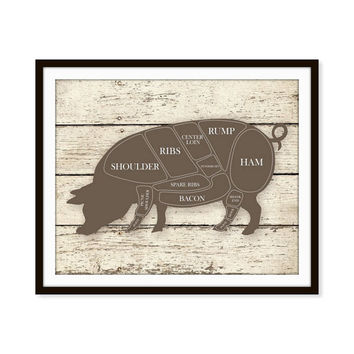 Kitchen Art Print Pig Hog Butcher Diagram Sign 5x7, 8X10, 11x14  Distressed Faux Wood Wall Art, Wall Decor