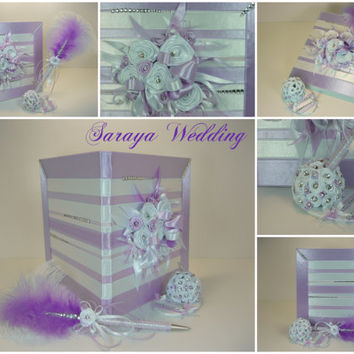 Wedding Guest Book and  Pen, Crystals, Personalized Guest Book, White and Purple, Wedding Guestbook, Wedding Sign In Book, Winter Wedding
