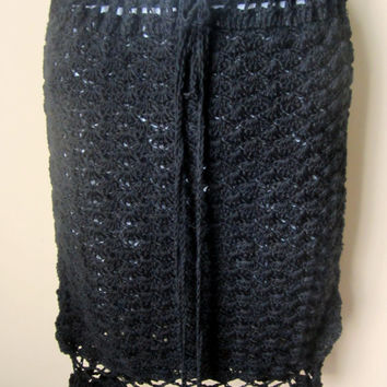 crochet skirt, BLACK, ruffled, wedding, parties, festival clothing, summer, gypsy, boho