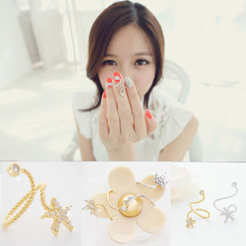 Rings Jewelry 18K Gold Ring Jewelry Starfish Flower Butterfly Spiral Pentagram Ring Joint Opening Jewelry For Women