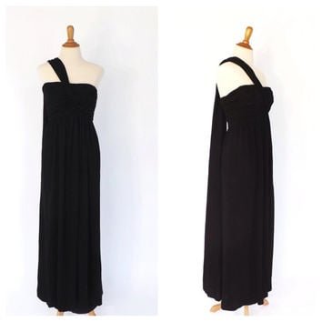 Vintage 1950s Samuel Winston by Roxane Gown Bombshell Couture Black Sheath Dress Draped Cocktail Wiggle 1960s Maxi Prom Gown Femme Fatale