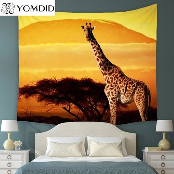 Giraffe Tapestry Indian Mandala Wall Hanging Tapestries Bedspread Throw Blanket Picnic table Cloth Home Decoration Dorm Cover