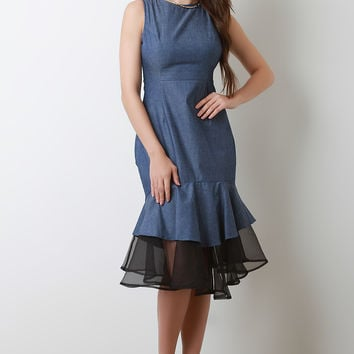 Mesh Mermaid Hem Denim Dress | UrbanOG