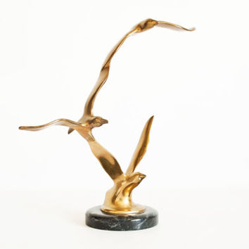 Vintage Solid Brass Soaring Seagull Sculpture with Marble Base, Modernist Figurine, Hollywood Regency or Beach Summer Decor