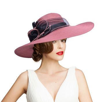Women's Sun Hat/ Floppy Summer Hats/ Elegant Kentucky Derby/ Wide Brim