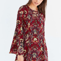 Moon River Floral Lace-Up Bell-Sleeve Mini Dress - Urban Outfitters