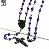 "Jewelry Kay style Men's Indigo Bead Guadalupe & Jesus Cross 28"" Rosary Necklace HR 600 Indigo"