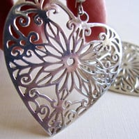 Sterling Silver Heart Filigree Earrings, Pierced, Large, Vintage