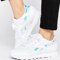 Reebok Irridescent Classic Leather Trainers In White at asos.com