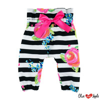 Black and White Stripes with Fuchsia Floral High Waist Pants