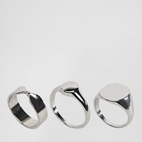 ASOS Pack of 3 Sleek Sovereign and Twist Ring Pack at asos.com