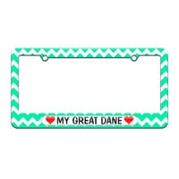 My Great Dane Love with Hearts - License Plate Tag Frame - Teal Chevrons Design