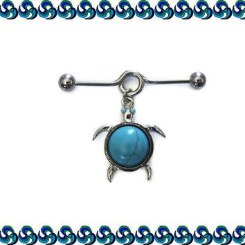 Sea Turtle Turquoise Cartilage on Industrial Barbell