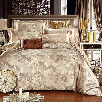 Luxury 6pc. Paisley Gold King Size Satin 100% Cotton Duvet Cover Bedding Set