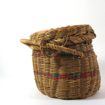 Vintage Basket with Attached Lid, Small Storage Organizer