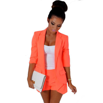 Orange Notched Collar Asymmetrical Coat