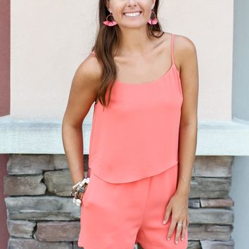 Next Up Scallop Romper - Coral