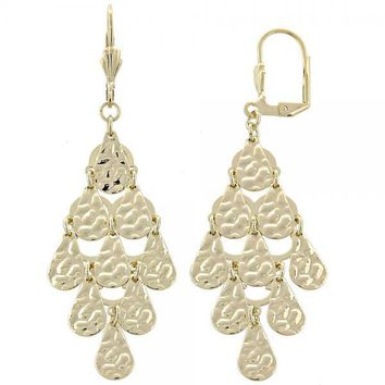 Gold Layered 02.63.2215 Chandelier Earring, Teardrop Design, Diamond Cutting Finish, Gold Tone
