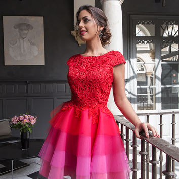 Pink Homecoming Dress, Lace Top Capped Sleeves Multi Colors Cocktail Dress, Short Prom Dress