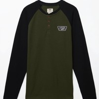 Vans Giltner Long Sleeve Henley T-Shirt - Mens Tee - Green