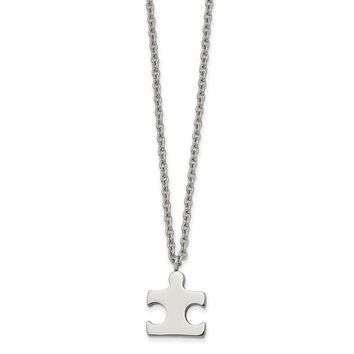 Stainless Steel Polished Puzzle Piece Necklace 18in