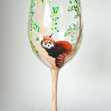 Hand Painted Red Panda Wine Glasses; hand painted wine glasses, red panda glass, tree wine glasses, painted wine glass, red panda gift