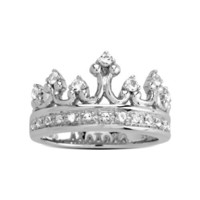 Sterling Silver Clear Crystal Crown Ring, Size 7