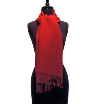 100% Baby Alpaca Woven Scarf - Brights Fire Engine Red