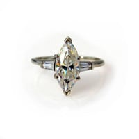 14k White Gold 2.5 Cts Marquise Cut Topaz Ring Engagement Solitaire