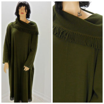 Sweater dress plus size, knit sweater dress XL / 5X, boho, fringed lagenlook, forest green long fall / winter dress, Sunny Boho
