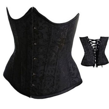 Women Sexy Black/White/Red Corset Bustier Underbust Corset Waist Training Cincher Body Shaper Plus Size S-6XL = 1930088516