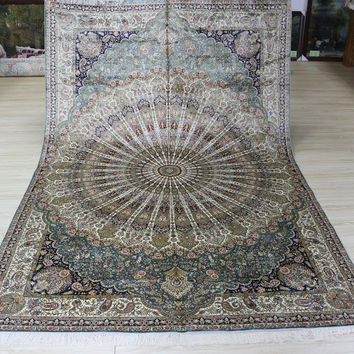 Gorgeous 6'x9' Hand Knotted Pure Silk Rug Oriental Persian Peacock Feather Pattern (MYX-6928, Multi Color)