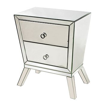 Thurso 2-Drawer Mirrored Side Cabinet