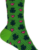 Shamrocks and Hearts Crew Socks in Electric Green