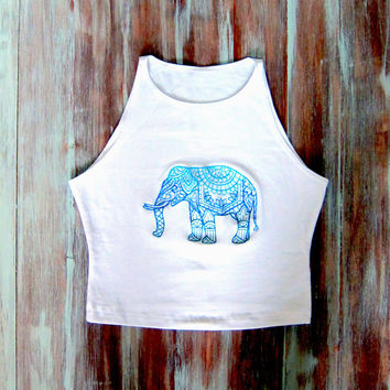 Mandala Elephant Crop Top-Yoga Top-Boho Crop Top-White Sleeveless Crop Top-Embroidered American Apparel Elephant Crop Top