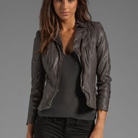 Muubaa Lyra Fitted Biker Jacket in Slate Grey from REVOLVEclothing.com