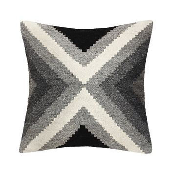 Hand Loomed Wool Modern Gray Decorative Pillow Cover