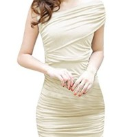 Ladies Wrapped Chest Elastic Back Pleated Front Stretchy Dress